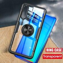 Transparent Car Ring Holder Case For Xiaomi mi 9 mi9 SE xiaomi mi 8 SE Lite Cases Carbon Fiber Shockproof Phone Cases Back Cover brushed texture carbon fiber shockproof tpu case for xiaomi mi 8 se black