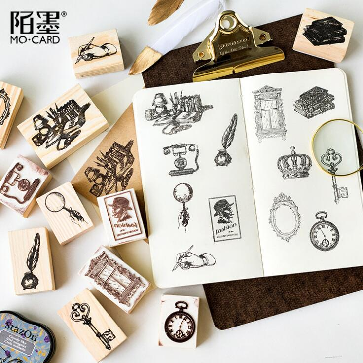 Clock Queen Key Window Wooden DIY Stamp Set Student Prize Promotional Gift Stationery 42 pcs set creative letters and numbers stamp gift box wooden stamp wooden box decorative diy funny work 3 styles