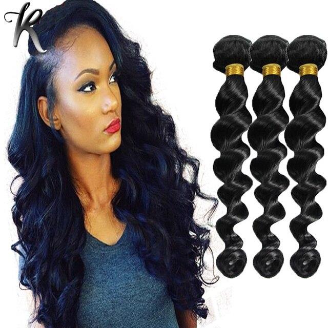 Jet Black 1 Malaysian Loose Wave Virgin Hair 3pcs Loose Deep Curly