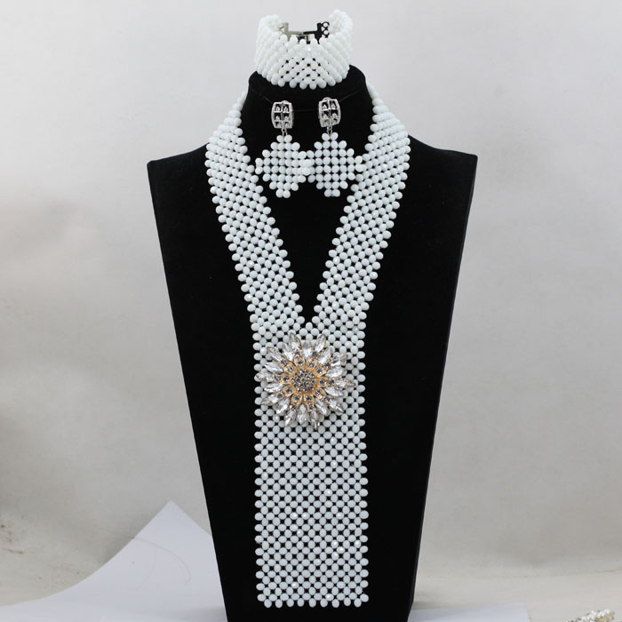 Charms White Arabic Indian Bridal Beads Crystal Jewelry Set Nigerian Beaded Pendant Necklace Set for Lady Free Shipping WA740