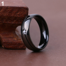 2016 New ArrivalWomen's Men's Titanium Steel Rhinestone Plain Wedding Engagement Ring Size 6-11  6KNY 7G3C 9S9R