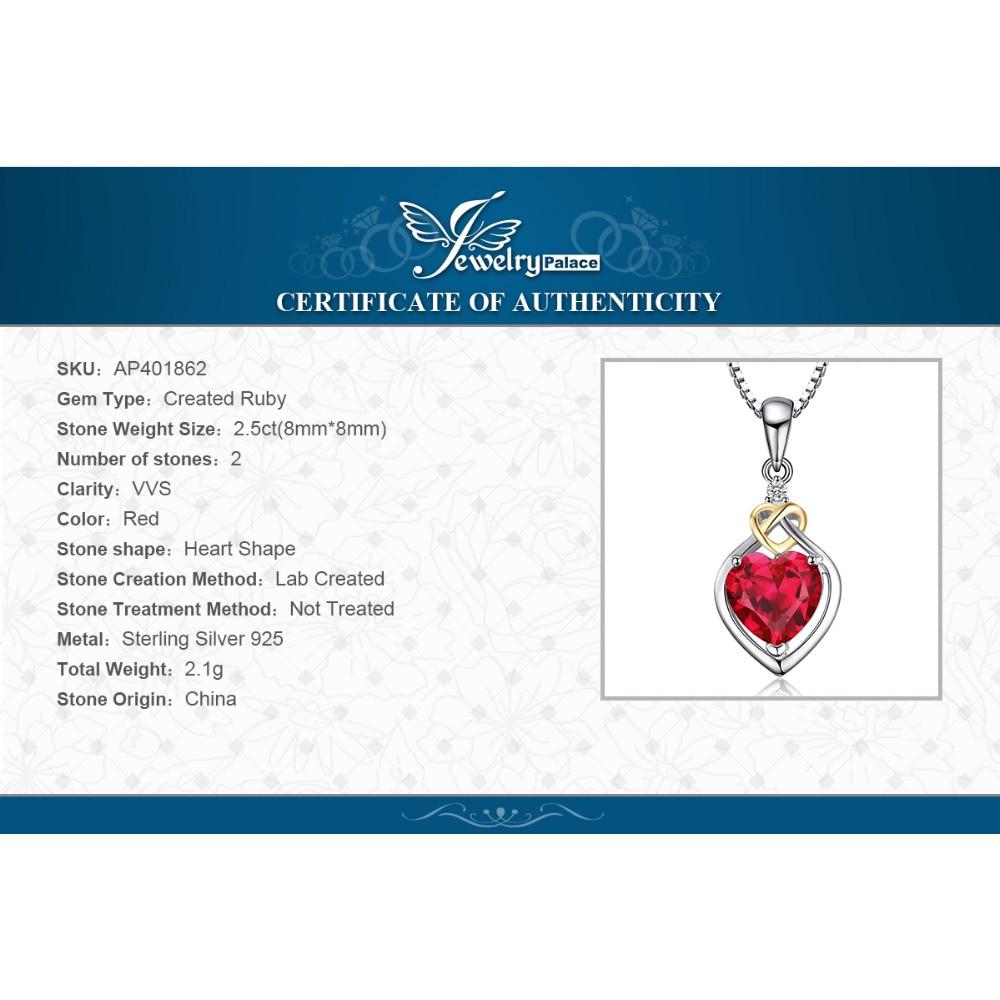 JewelryPalace 2.5ct Yarış Qırmızı Yaqut Kolye 925 Sterling - Gözəl zərgərlik - Fotoqrafiya 6