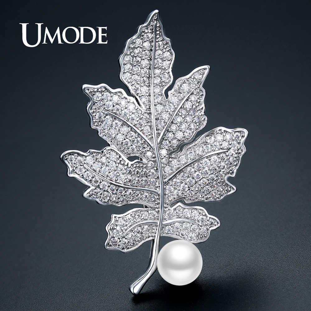 Umode Merek Design Besar Daun Mutiara Bros untuk Wanita Warna Perak Crystal Bros dan Pin untuk Gaun Hadiah Natal AUX0022