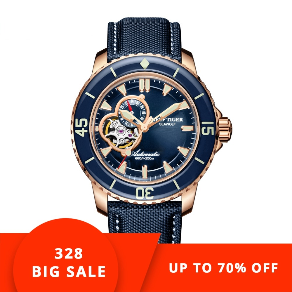 Риф Тигр/RT роскошные часы для дайвинга для мужчин Автоматический розового золота тон синий часы нейлоновый ремешок RGA3039