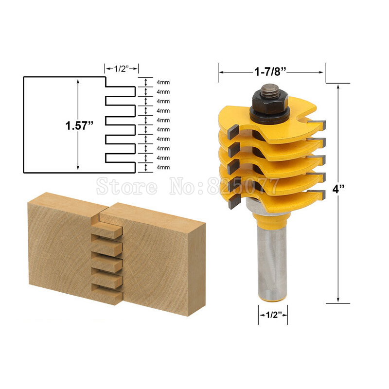 1pcs Woodworking DIY Tools Router Bit Adjustable 5 Blade 3 Flute 1/2 Shank For Wood Cutter Tenon Cutter JF1477