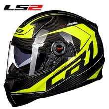 100% D'origine LS2 FF396 casque de moto En fiber de Carbone matériel CEE plein visage moto casque authentique porter des lunettes design