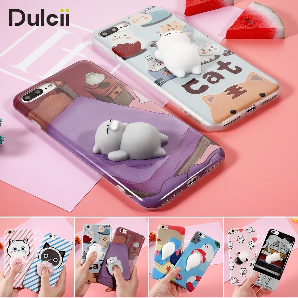 Capa for font b iPhone b font 6s 6 5 7 Plus Case Cute Cat Seal