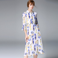 In The Spring Of 2017 European Women S New Trumpet Sleeve Print Dress Silk Dress D17035