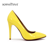 SOPHITINA Patent Leather 11cm High Heel Brand Woman Pumps Pointed Toe Sexy Shallow Yellow Black Red