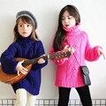 2016 Otoño Nuevas Niñas Ropa de Bebé Niña Suéter de 2 Colores Suéter Estilo Largo Ocasional Sólido del Cuello Alto de Algodón Niñas Niños Suéter