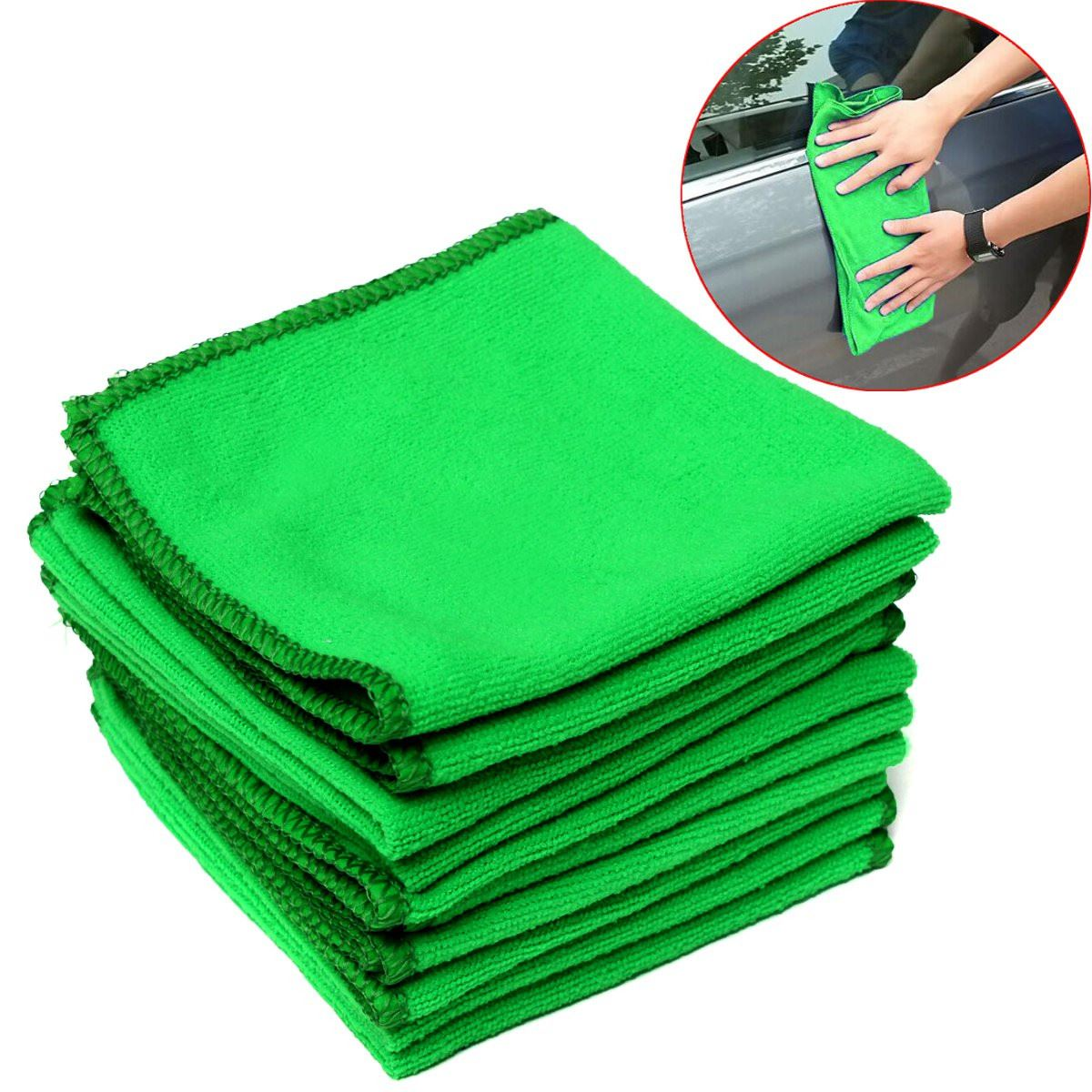 10Pcs Green Microfiber Cleaning Car Auto Detailing Cloth Towel Duster Wash 29cm