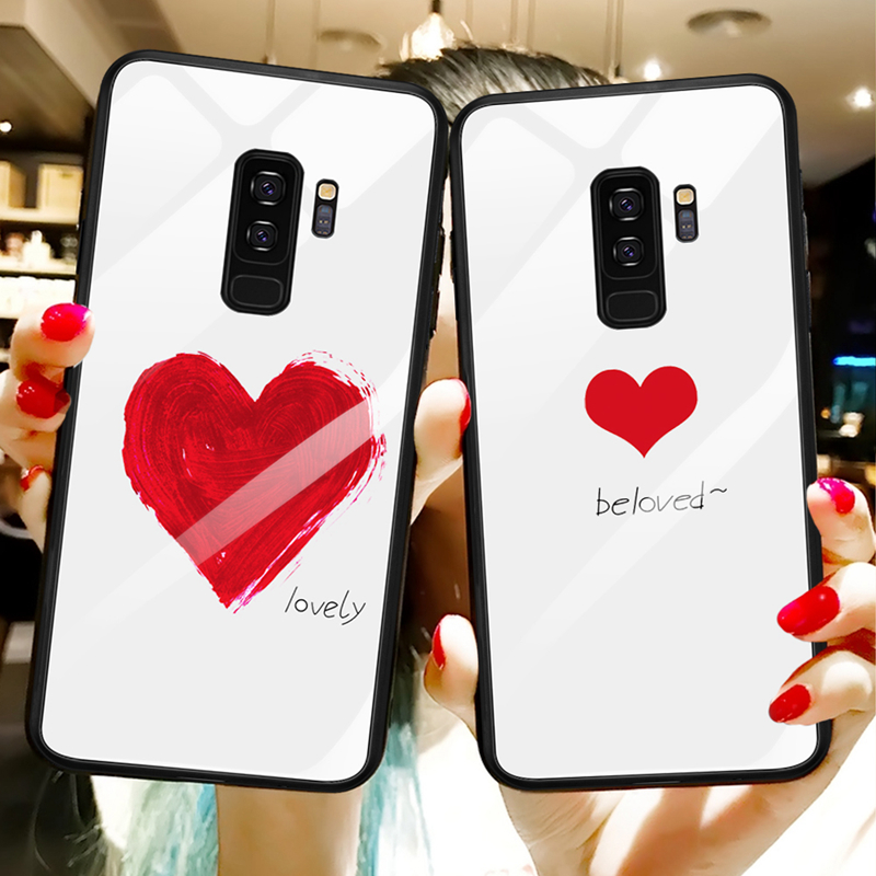 Tempered Glass Case For Samsung Galaxy S9 S8 Plus Note 8 9 Lovely Heart Hard Back Cover Soft Bumper For Samsung S10 Plus S10e 10