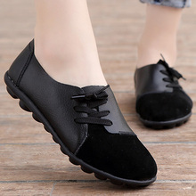 Women Flat Shoes Patchwork Suede Genuine Leather Sh