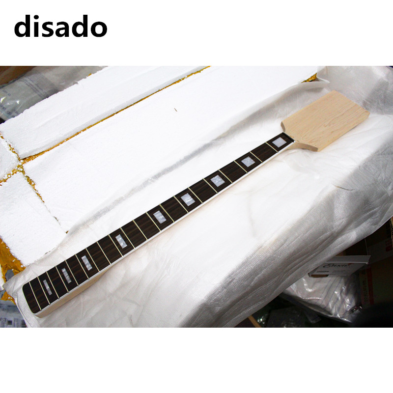 disado 20 frets paddle headstock maple electric bass guitar neck rosewwood fingerboard inlay block guitar accessories parts 2 set electric guitar neck paddle head maple 22 frets dot inlay unfinished