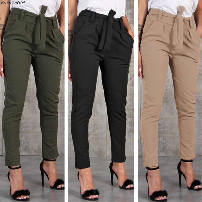 BornToGirl Casual Slim Chiffon Thin Pants For Women High Waist Black Khaki Green Pants(China)
