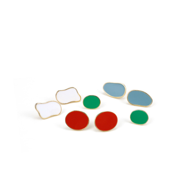 New Fashion Stud Earrings For Women Dripping oil earrings Vintage color Geometric Earrings For Party Wedding Gift Ear Jewelry in Stud Earrings from Jewelry Accessories