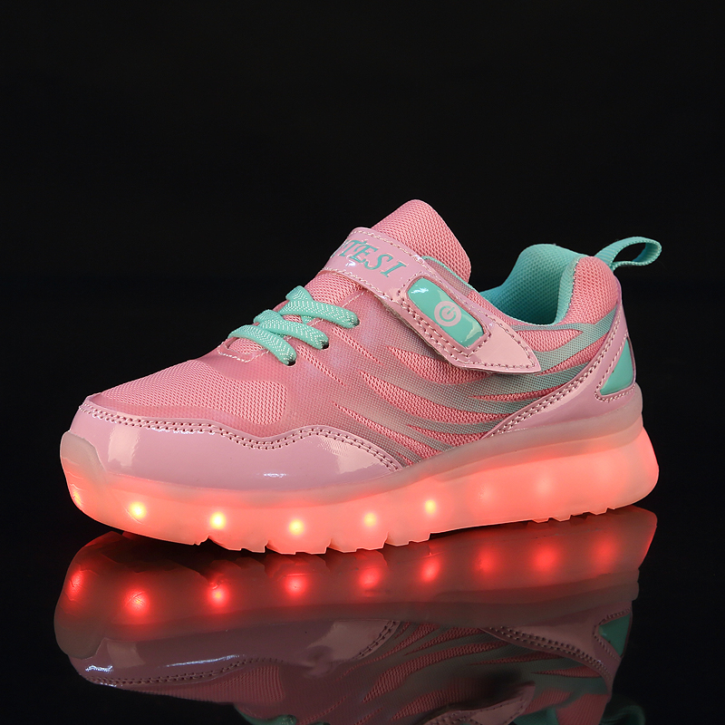 2017 New Children Shoes Hot Light Led luminous Shoes Boys Girls USB Charging Sport Shoes ...