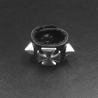 Silver Alloy Round Taper Rivet Cross Dart Black Cowhide Punk Ring Men And Women 18 Mm Guard Ring 100% Original
