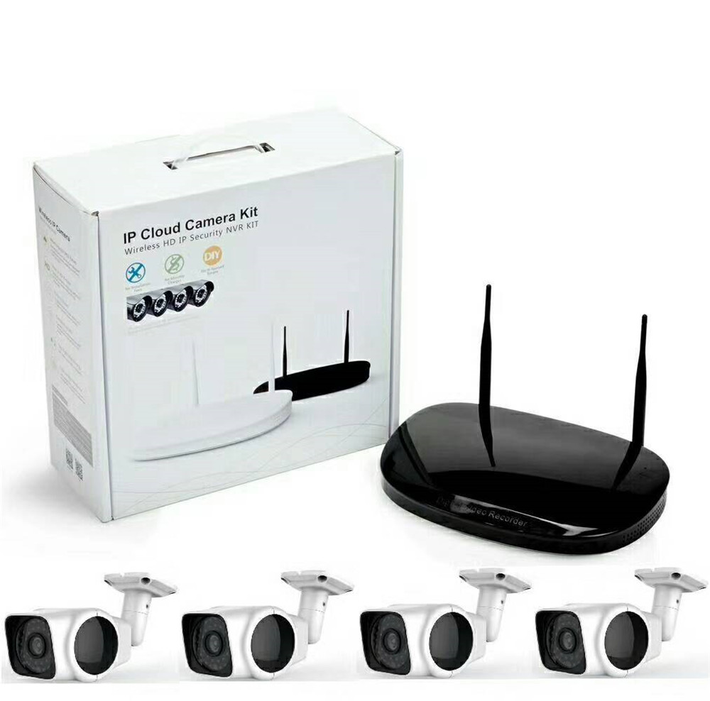 4CH 720/960/1080P Wireless WIFI IP Cloud Camera NVR Kit