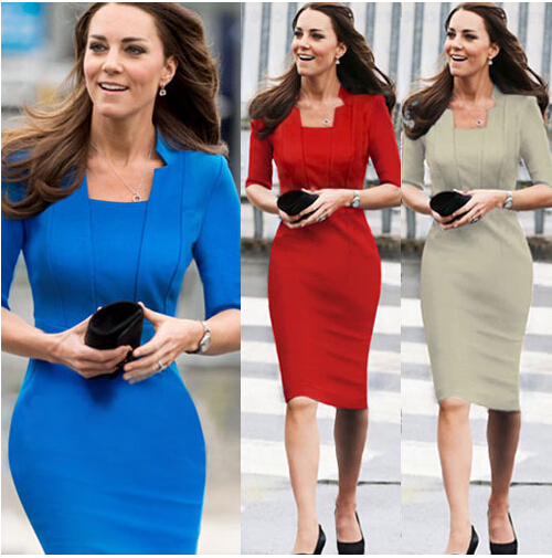Fashion Brand Party Dresses Women 2015 Square Collar Slim Ladies Blue  Elegant Dress Bodycon Summer Formal Office Wear Plus Size 06c8d078e877