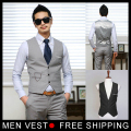 Men's Fashion Slim  Waistcoat Single Breasted V-Neck Formal Vest Cotton Polyester Outerwear Size M L XL XXL Free shipping