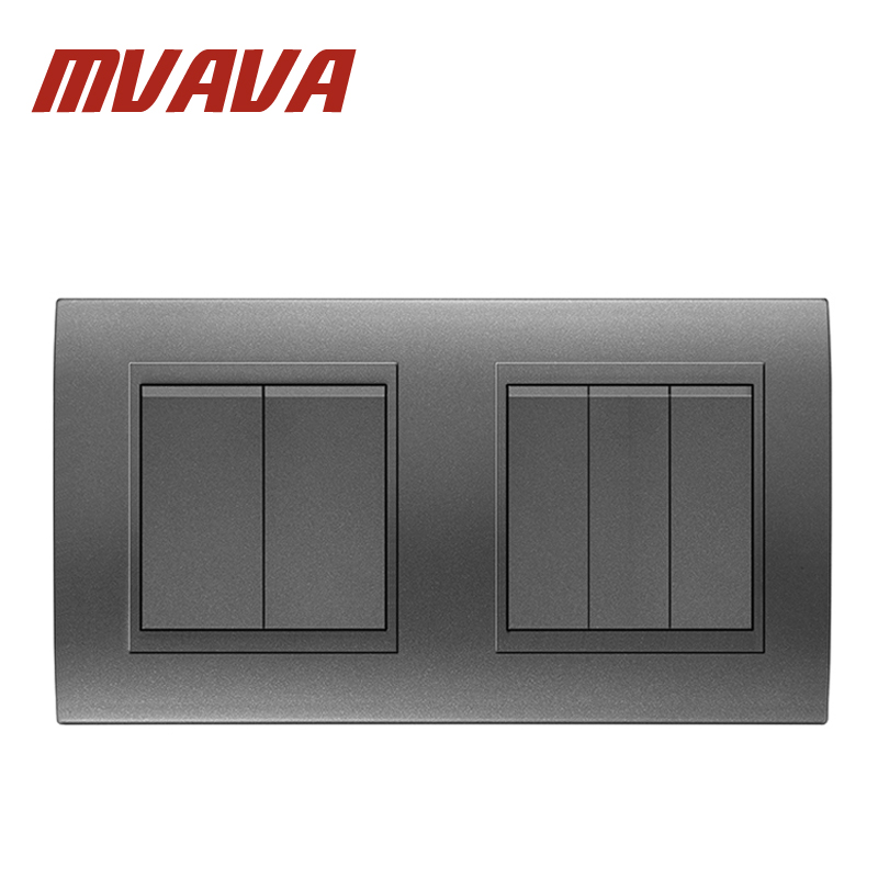 MVAVA Dual Double 5 Gang Electrical Push Button Light Wall Switch 16A 110~250V  220V Fire Retardant PC Panel Free sShipping 50pcs lot 6x6x7mm 4pin g92 tactile tact push button micro switch direct self reset dip top copper free shipping russia