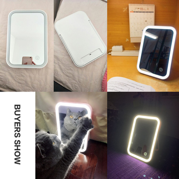 LED Backlit Mirror Home Desktop Charging ABS 3.7V/1.48W Folding Makeup Mirror With Lights Table Mirrors Cosmetic Lamp 2