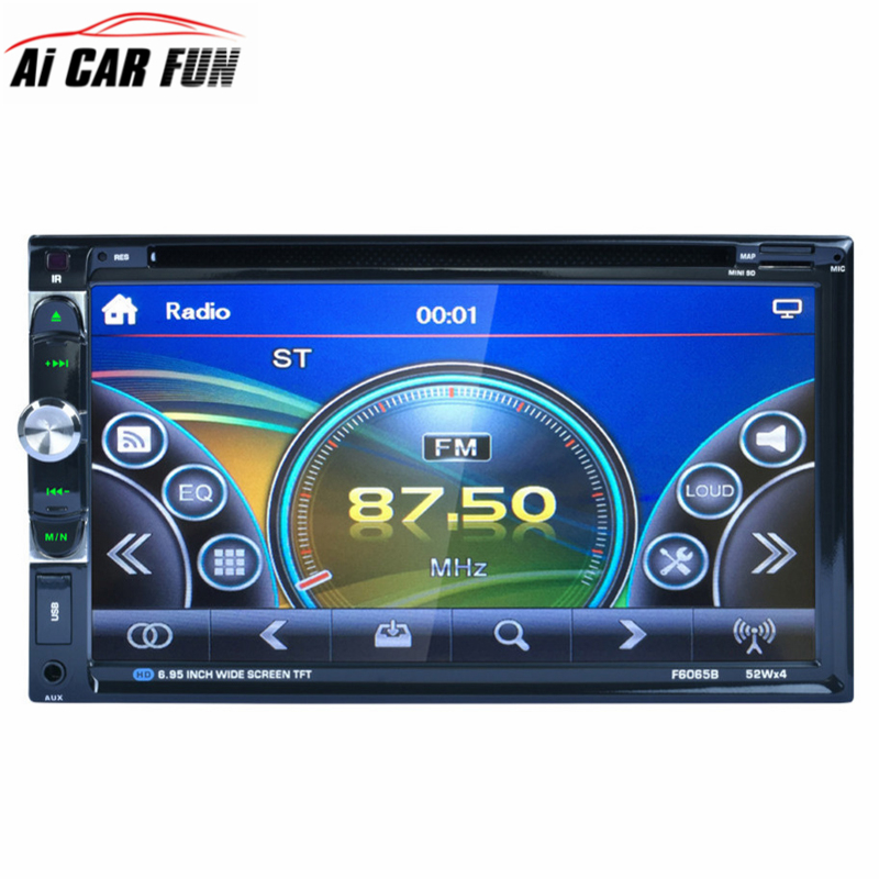 F6065B 2 Din Car Radio Player Stereo 6.95 Inch Touch Screen Car DVD Player MP3 CD Audio Bluetooth USB FM Auto Radio Autoradio 7 hd 2din car stereo bluetooth mp5 player gps navigation support tf usb aux fm radio rearview camera fm radio usb tf aux
