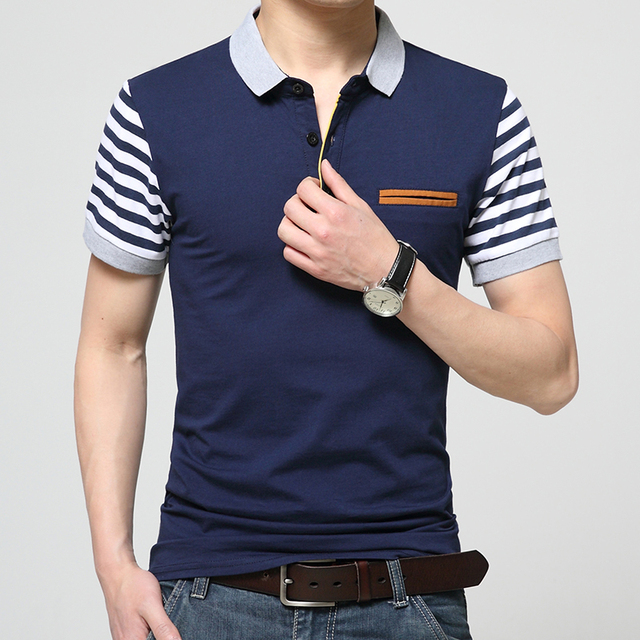 2017 Мода лето стиль мужская с коротким рукавом рубашки Поло бренд мужской полосатый вязать небольшой лацкан мужская повседневная мужские рубашки Поло