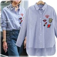 MELANASY 2017 Spring Fall Women Fashion Shirt Rose Floral Print Embroidery Blouse Long Sleeve Turn Down