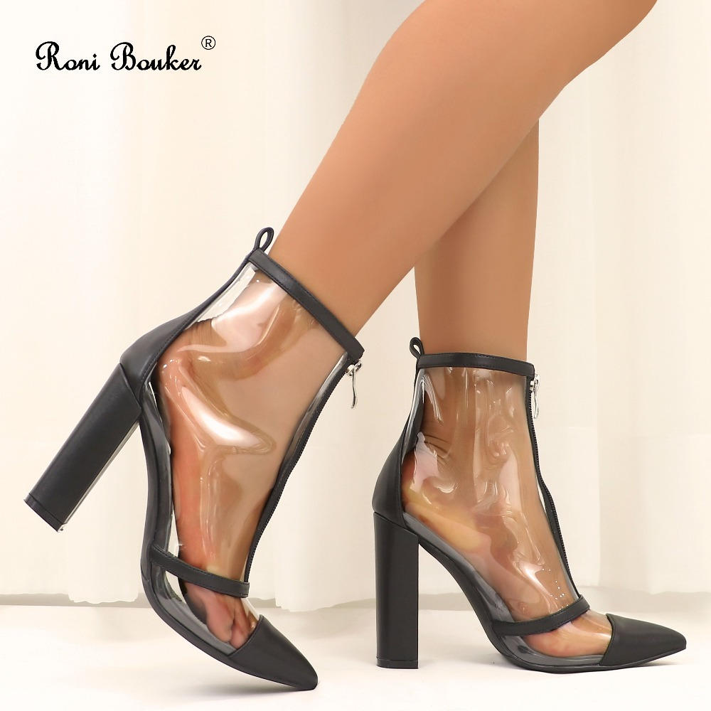 Roni Bouker Sexy Women's Clear Heels Transparent Ankle Boots Women Chunky Heel Shoes Woman Zipper Booties High Quality Shoe
