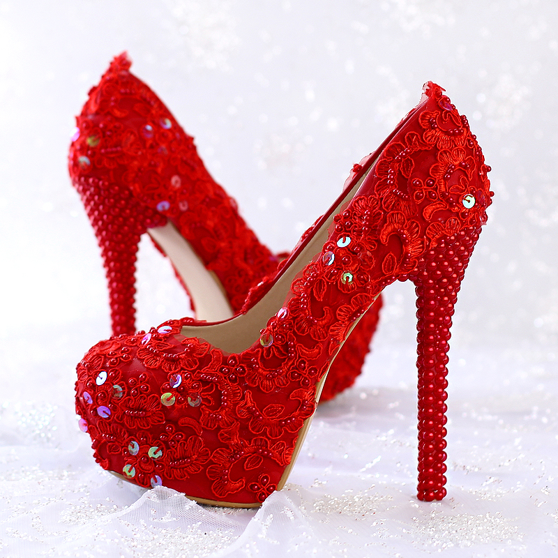 2016 new red lace Glitter bride shoes high heel elegant dress shoes round toe single shoes lady wedding shoes free shipping