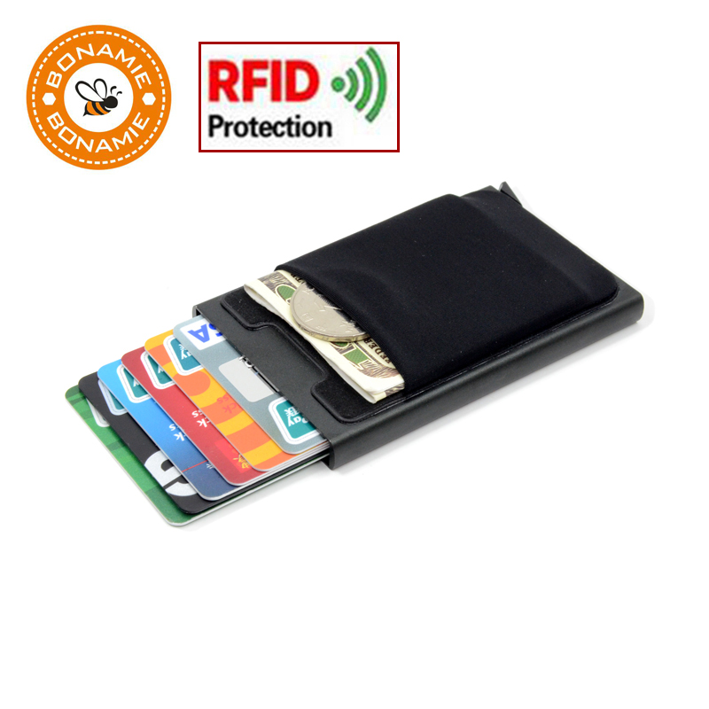 BONAMIE Hot ! Credit Card Holder Case Aluminum Wallet With Elasticity Back Pocket RFID Thin Metal Wallet Business ID Card Holder
