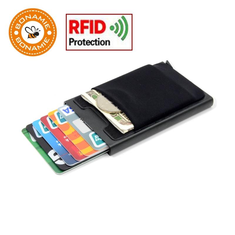 BONAMIE Hot ! Credit Card Holder Case Aluminum Wallet With Elasticity Back Pocket RFID Thin Metal Wallet Business ID Card Holder