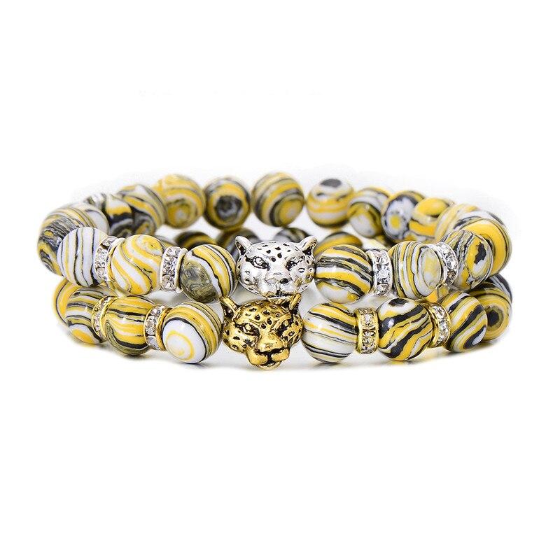 Fashion Crystal Beaded Charm Alloy Leopard Head Bracelet Bangle 2017 New Unique Natural Zebra Stone Strand Bracelets Hot Sale
