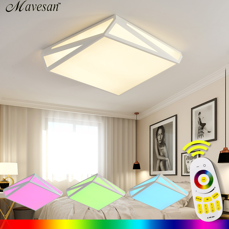 new led <font><b>lights</b></font> ceiling living with multicolored Luminarias Para Sala Ceiling Fixtures Bedroom lighting Remote Control