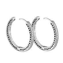 Аутентичные серьги кольца с искусственными серебряными сердцами и фианитами, 27 мм, серьги для женщин и девушек, подарки
