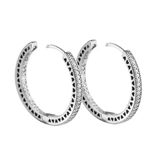 Authentic 925 Sterling Silver Hearts of Signature Hoop Earrings with Clear CZ 27 mm Earrings for Women Girls Gift  brincos