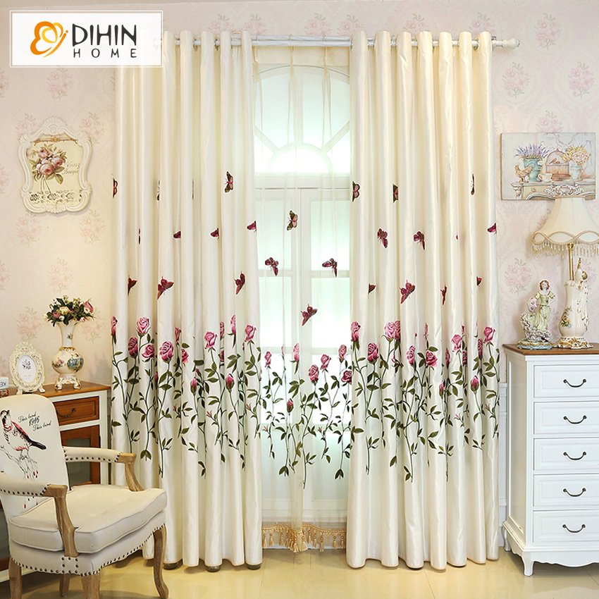 Butterfly Embroidered Blackout Curtains For LivingRoom Bedroom Custom Made Curtain DrapesChina Mainland