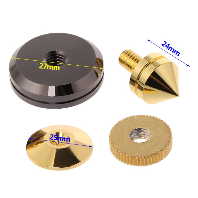 1Pair Mini Gold Metal Anti Shock Foot Nail Pin Spike Foot Pad for Audio Speakers Accessories 10166