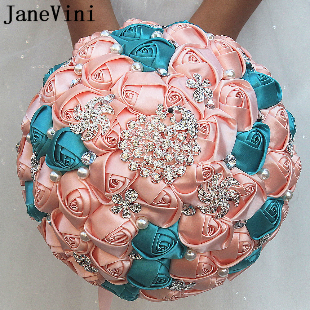 JaneVini Romantic Pink Artificial Flower Wedding Bouquet Crystal Pearls Bridal Bouquet Wedding Accessories Boutonniere Mariage
