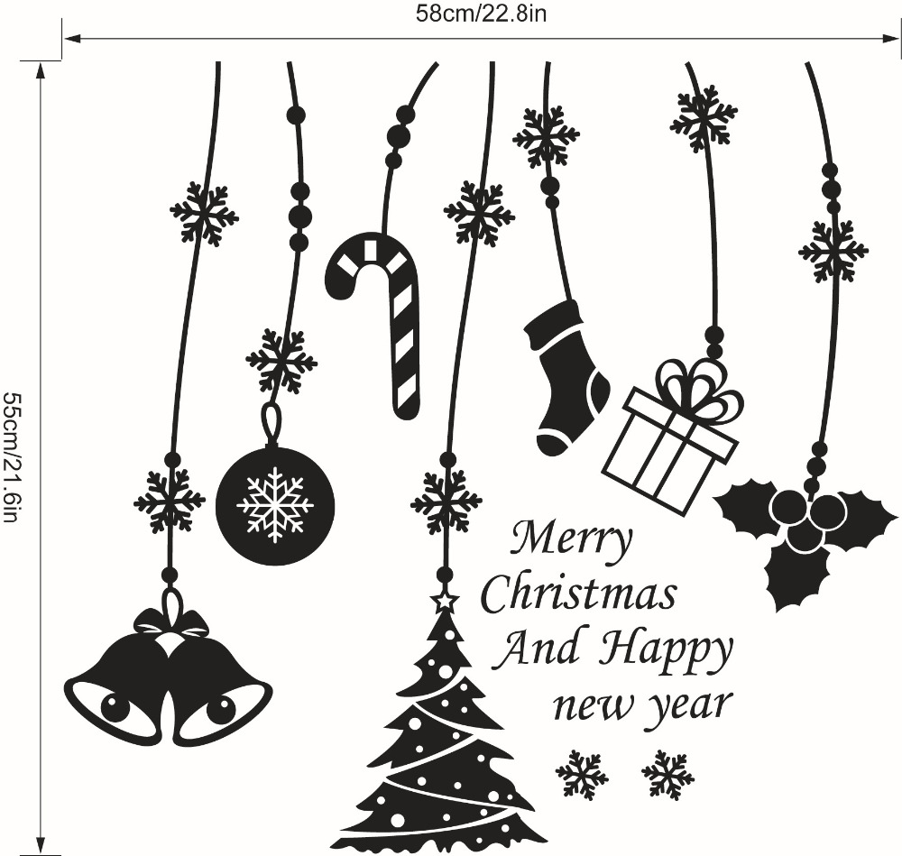 Merry Christmas Bell Tree Snowflake Wall Stickers Shop Office