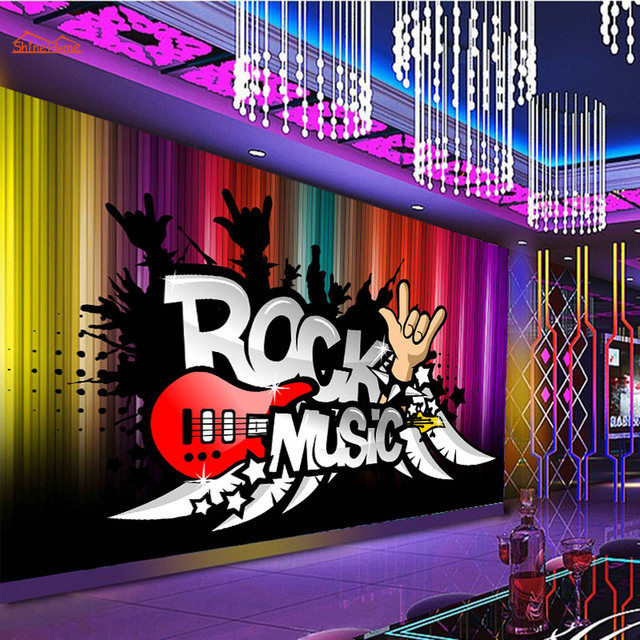 Large Abstract Rock N Roll Music Ktv Room Wallpaper Landscape Photo For Wall