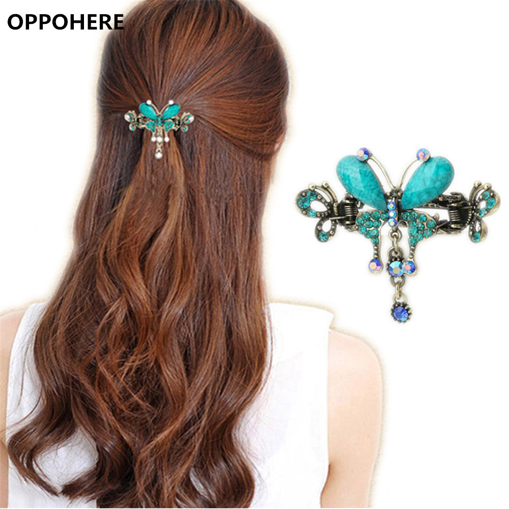 Elegant Women Turquoise Butterfly Flower Hairpins Vintage Hair Barrettes Clip Crystal Butterfly Bow Hair Clip Hair Accessories women retro blue crystal hairpins hair clip hair accessories girls cute bowknot butterfly flower hair pin barrettes headdress