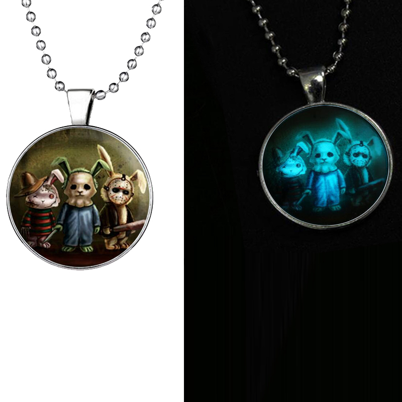Fashion 2018 New cartoon rabbit necklace Glow Time Gem Series Glow pendant necklaces glass glowing necklaces