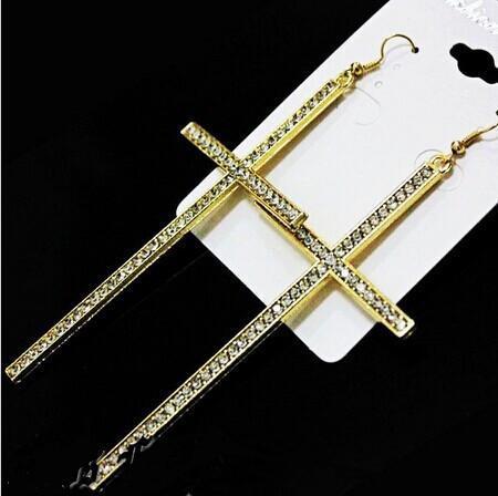 4 Pieces Oversize Full Cz Rhinestones Gold Silver Long Cross Dangle Earrings Fashion Women Earring Jewelry