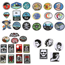 5PCS/Lot High Quality Round Patch Animal Embroidery Badge Patches for Clothing Accessories Badgees DIY Applique Skull