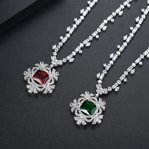 Image 4 - LUOTEEMI Neue Große Blume Anhänger Halskette für Frauen für Hochzeit Party Luxus CZ Schmuck Rot und Grün Kragen Mujer Weihnachten geschenk