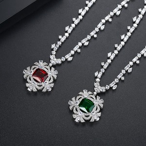 Image 4 - LUOTEEMI New Big Flower Pendant Necklace for Women for Wedding Party Luxury CZ Jewelry Red and Green Collar Mujer Christmas Gift