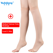 Youhekang Medical Varicose Veins Compression Stockings Socks Pressure Level 2 Thigh Anti-Fatigue Unisex 1 Pair
